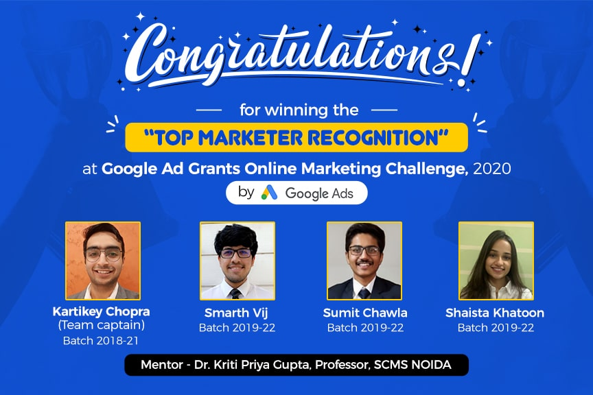 SCMS NOIDA students Top marketer recognition