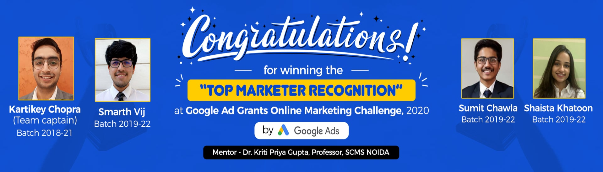 Top marketer recognition for SCMS NOIDA BBA students